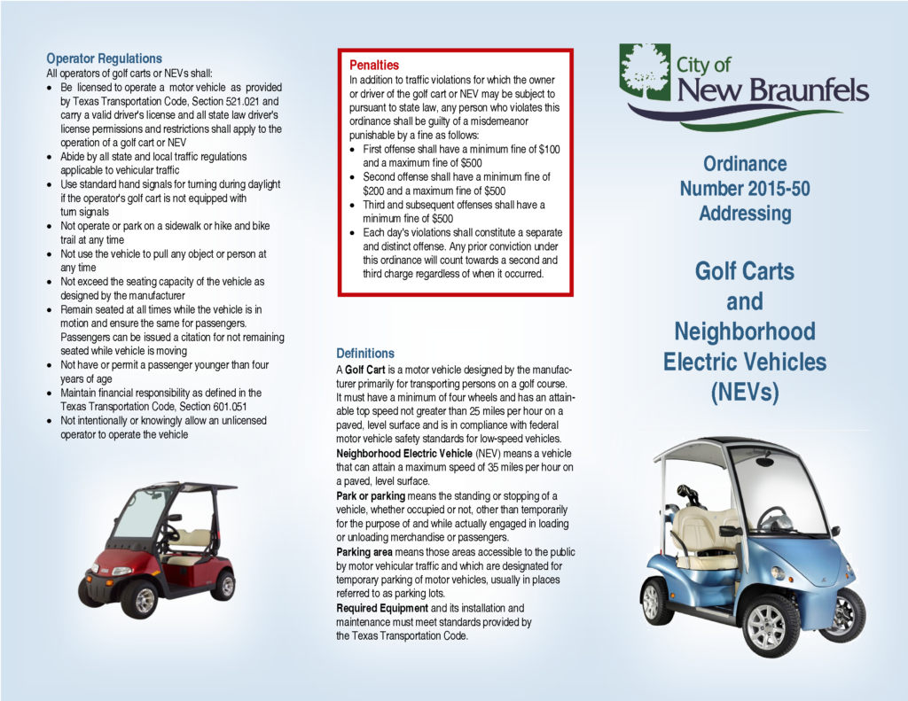 New Braunfels Golf Cart Ordinance - Page 1