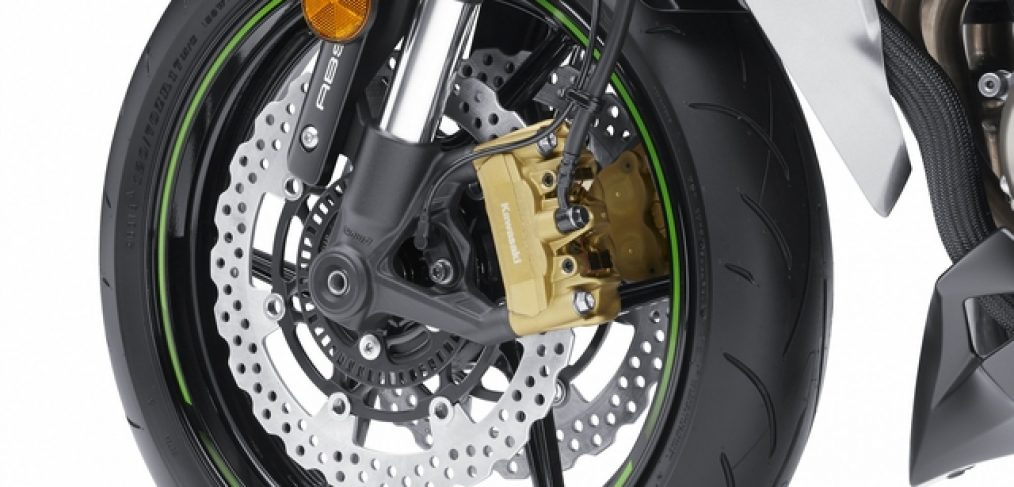 The front wheel on a 2014 Z1000 with the ABS